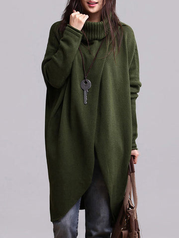Casual Turtleneck Asymmetrical Long Sleeve Sweater