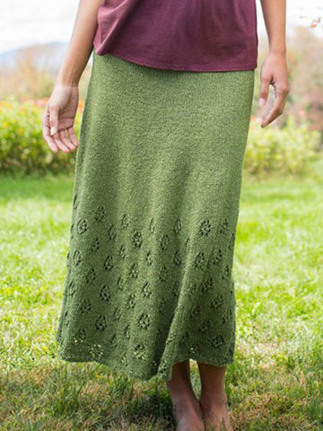 Green Knitted Casual Plus Size Skirts
