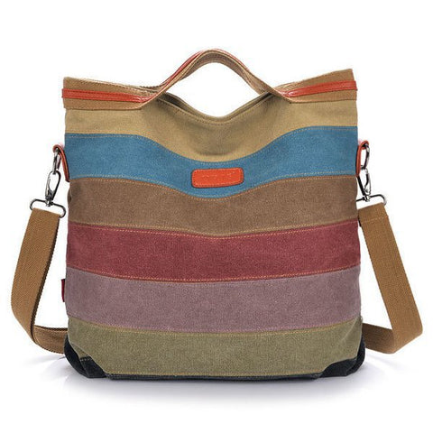 Women Canvas Contrast Color Striped Canvas Crossboby Shoulder Bag