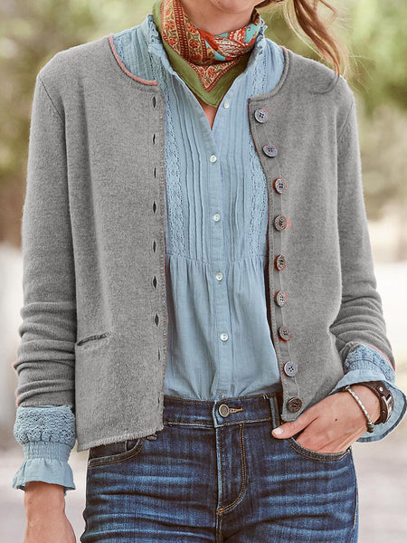 Cotton-Blend Long Sleeve Casual Outerwear
