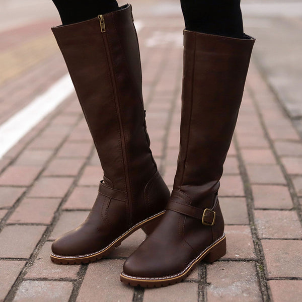 Retro Simple Style Side Zippper Chunky Heel Round Toe Boots