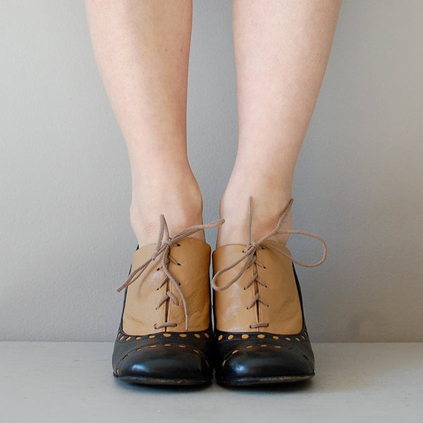 Womens New Oxfords Vintage Chunky Heel  Lace Up Shoes