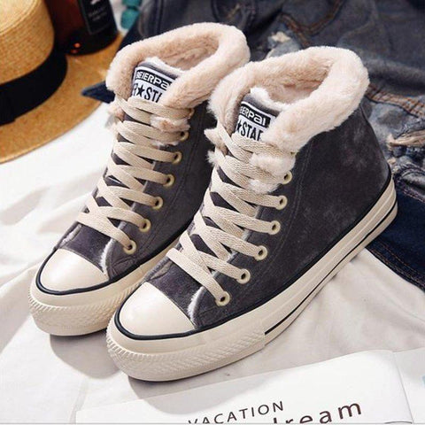 Women's Canvas fur  Sneakers  Lace Up Shoes Bettermia