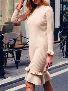 Stand Collar Apricot Dresses Sheath Daily Casual Solid Dresses
