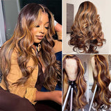 ashimary hair highlight wigs brown highlight lace closure wig hd transparent wig glueless lace wig for black women