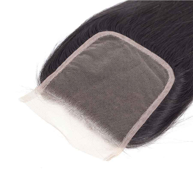 Ashimary Straight Hair 4x4Inchs Lace Closure Natural Color Remy Hair Closure 100% Human Hair