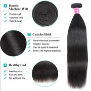 10A Straight Brazilian Human Hair Bundles Virgin Hair Natural Color - ashimaryhair