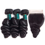 9A Loose Wave Virgin Hair 2/3 Bundles with Closure Natural Color Indian  Hair - ashimaryhair