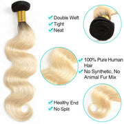 3 Bundles 1b/613 Ombré Blonde Hair Body Wave Brazilian Human Hair - ashimaryhair