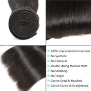 YZ Grace 10A Straight Thick& Soft Brazilian Human Hair Bundles with Closure Virgin Hair Natural Color - ashimaryhair