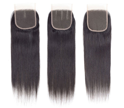 Ashimary Straight Hair 4x4Inchs Lace Closure Natural Color Remy Hair Closure 100% Human Hair - ashimaryhair