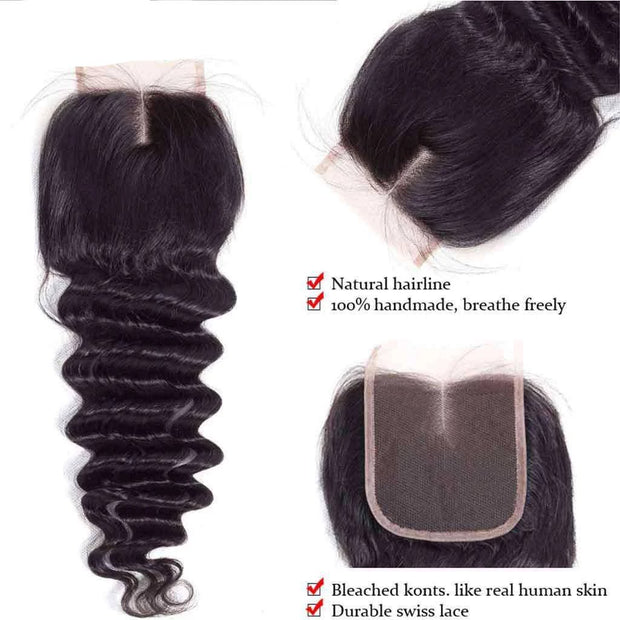 9A Loose Deep Wave Virgin Hair Bundles with Closure Natural Color 100% Human Hair - ashimaryhair