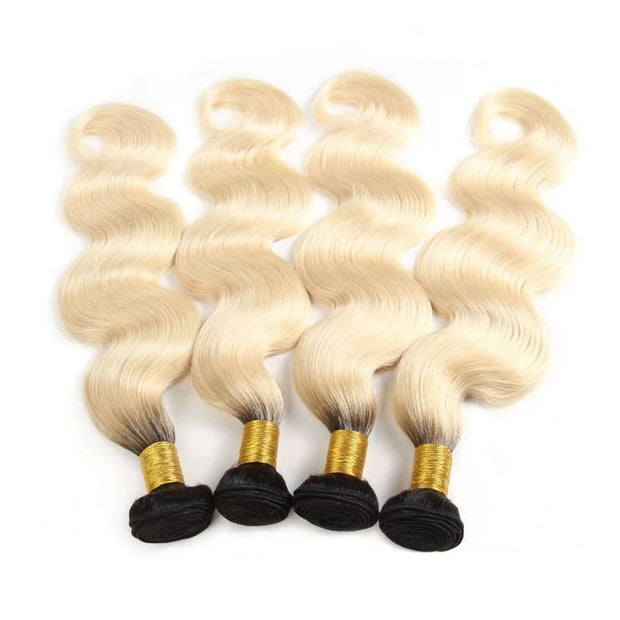 4 Bundles 1b/613 Ombré Blonde Hair Body Wave Brazilian Human Hair - ashimaryhair
