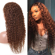 30# Brown Hair Glueless 4*4 13*4 13*6 Lace Straight/Deep Curly Wave Wigs 180% Brazilian Human Hair Luxurious Customization