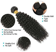 10A Kinky Curly Hair 4 Bundles With Closure Brazilian Hair Natural Color - ashimaryhair