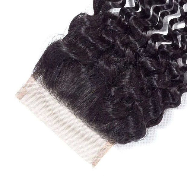 9A Kinky Curly Hair 3 Bundles with Closure Human Hair Natural Color - ashimaryhair