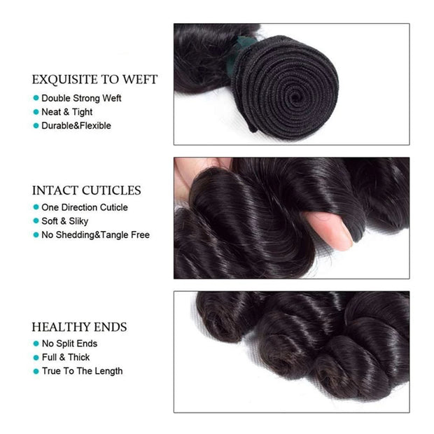 Loose Wave 10A Brazilian Human Hair Bundles with Closure Natural Color - ashimaryhair