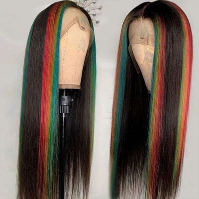 Ashimary Highlight Straight Hair 4*4 13*4 Lace Front Wig 180% Brazilian Human Hair Lace Wig