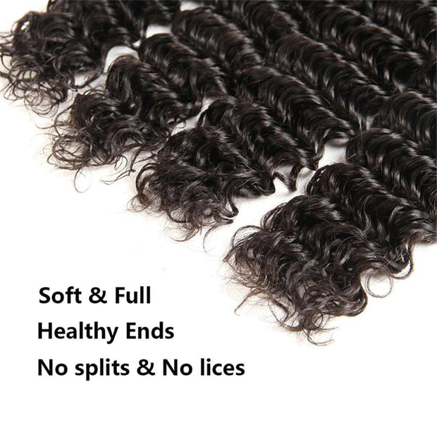 9A Grade Deep Wave 3 Bundles With Frontal Brazilian Virgin Hair - ashimaryhair