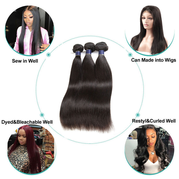4 Bundles 9A Straight Brazilian Human Hair Bundles Virgin Hair Natural Color - ashimaryhair
