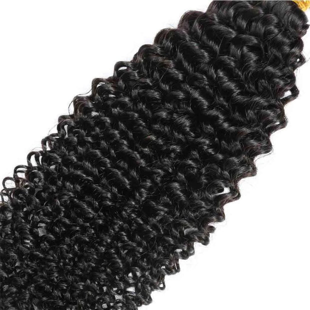 9A Kinky Curly 3 Bundles with Lace Frontal Natural Color Virgin Hair - ashimaryhair