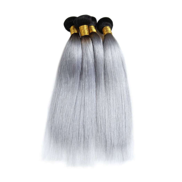 4 Bundles Grey Ombre Hair Straight Brazilian Human Hair Bundles - ashimaryhair