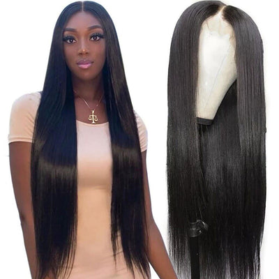 Glueless 4*4 Lace Closure Wig Straight Brazilian Human Hair-AshimaryHair.com