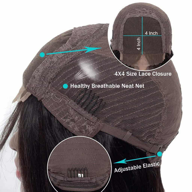 Deep Wave 4*4 Lace Closure Wigs Cap -AshimaryHair.com
