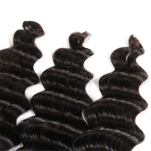 4 Bundles 9A Loose Deep Wave Brazilian Human Hair Bundles Natural Color - ashimaryhair