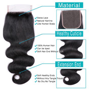 9A Body Wave Virgin Hair 3 Bundles with Closure Natural Color Brazilian Hair - ashimaryhair