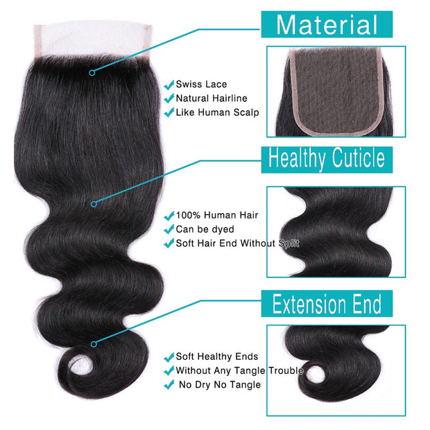 9A Body Wave Virgin Hair 3 Bundles with Closure Natural Color Malaysian Hair - ashimaryhair