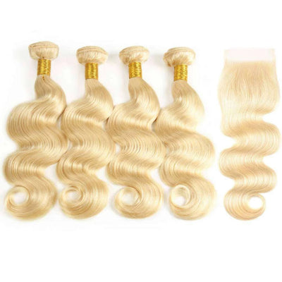 613 Blonde 4 bundles with Closure Brazilian Human Hair Body Wave - ashimaryhair