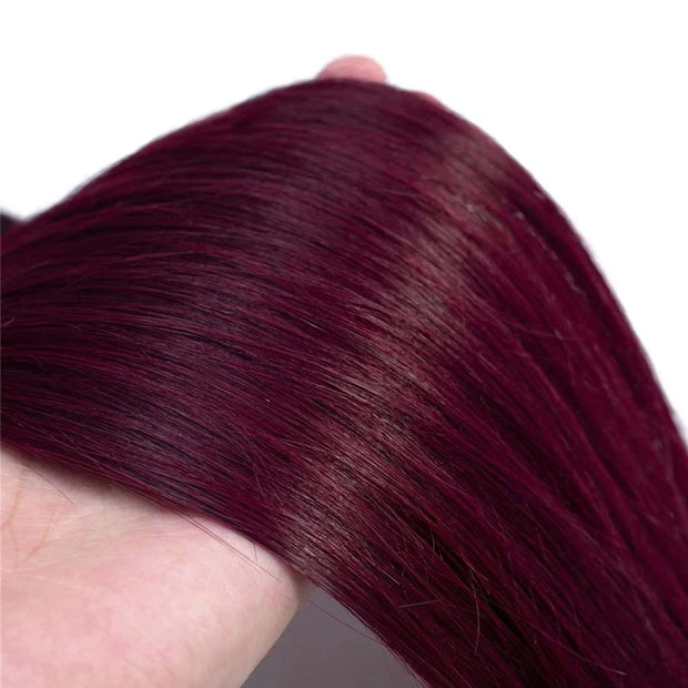 Ombre Burgundy Mixed Brazilian Human Hair Straight/ Body Wave Hair Bundles - ashimaryhair