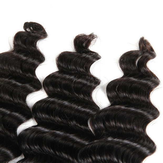 3 Bundles 10A Loose Deep Wave Virgin Hair Bundles Natural Color - ashimaryhair