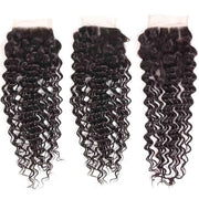 9A Deep Wave Virgin Hair 3 Bundles with Closure Natural Color Brazilian Hair - ashimaryhair