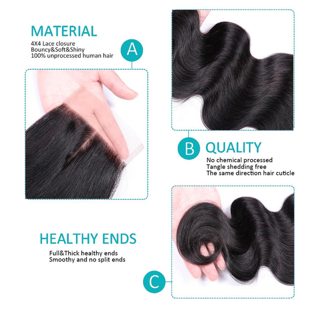 10A Body Wave Hair 4 Bundles With Closure Natural Color - ashimaryhair