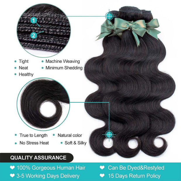 9A Grade 3 Bundles With Frontal Body Wave Virgin Hair Soft Wavy - ashimaryhair