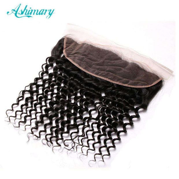 Deep Wave Hair Lace Frontal 13x4Inchs Natural Color 100% Human Hair Free Shipping - ashimaryhair