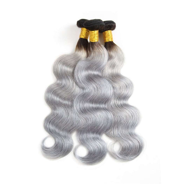 Ombre Grey 3 Bundles Body Wave Brazilian Human Hair Bundles - ashimaryhair