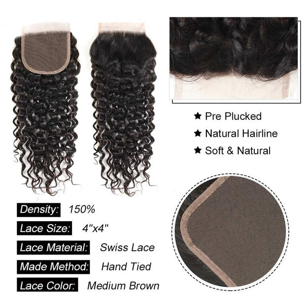 Water Wave 3 Bundles with Closure Ashimary 10A Brazilian Human Hair Natural Color - ashimaryhair