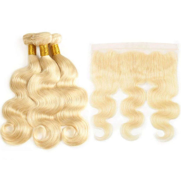 613 Honey Blonde Brazilian Body Wave Hair 3 Bundles With Frontal Human Hair - ashimaryhair