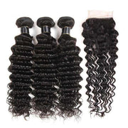 Deep Wave 10A 3 Bundles with Closure Free Part Brazilian Human Hair Natural Color - ashimaryhair