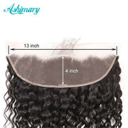 Water Wave Hair Lace Frontal 13x4Inchs Natural Color 100% Human Hair - ashimaryhair