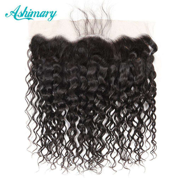 Water Wave Hair Lace Frontal 13x4Inchs Natural Color 100% Human Hair Free Shipping - ashimaryhair