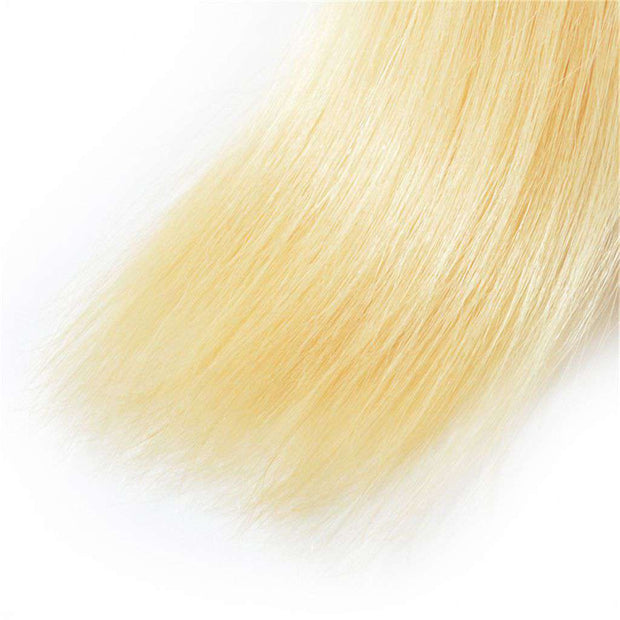 613 Blonde Brazilian Human Hair Straight Hair 3 Bundles with Closure - ashimaryhair