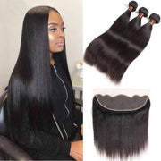 Brazilian Straight Human Hair 3 Bundles With Frontal Remy Hair-AshimaryHair.com
