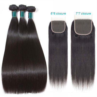 6*6 7*7 Lace Closure With Bundles Straight Brazilian Hair-AshimaryHair.com