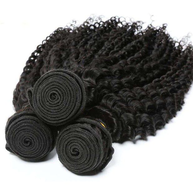 Afro Kinky Curly Hair 3 Bundles 10A Brazilian Human Hair Natural Color - ashimaryhair