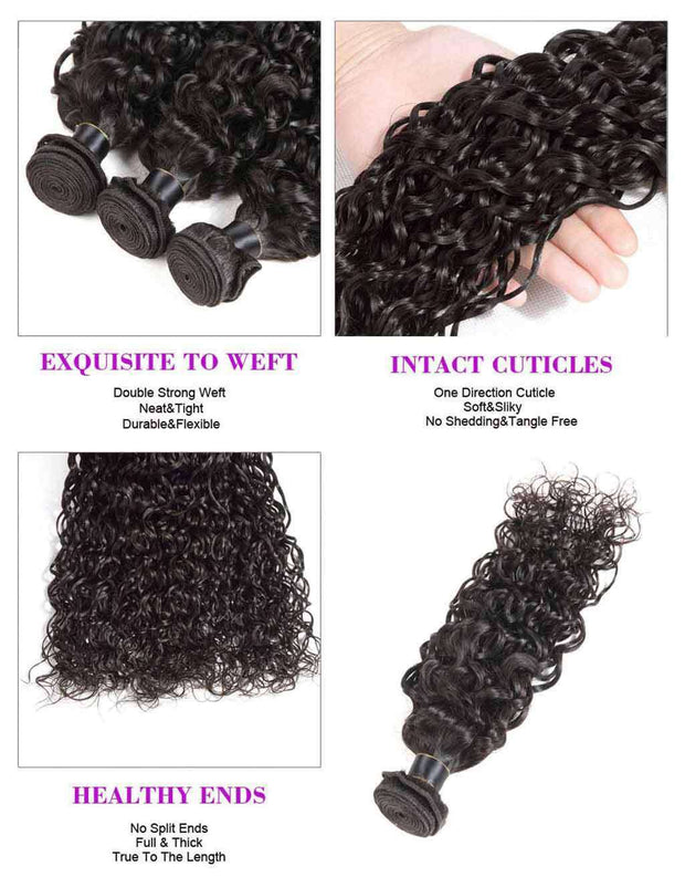 Bundles 9A Water Wave Human Hair Bundles Natural Color - ashimaryhair