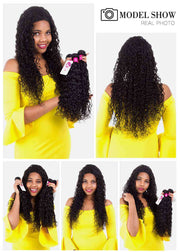 9A Water Wave Virgin Hair 3 Bundles with Closure Natural Color Brazilian Hair - ashimaryhair